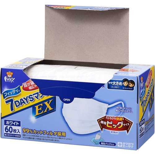 Fitty 7DAYS Mask EX 7 หน้ากากอนามัยป้องกันฝุ่น PM2.5 ขนาดใหญ่ (60 ชิ้น)