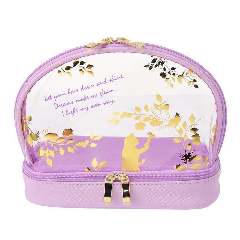 ( Disney ) กระเป๋าเครื่องสำอาง 2 ชั้น ลายราพันเซล สีม่วงพาสเทล