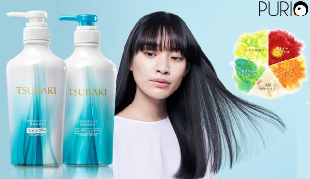 TSUBAKI Smooth Shampoo & Conditioner ยาสระผมและครีมนวด สูตรผมนุ่มลื่น 315ml x2